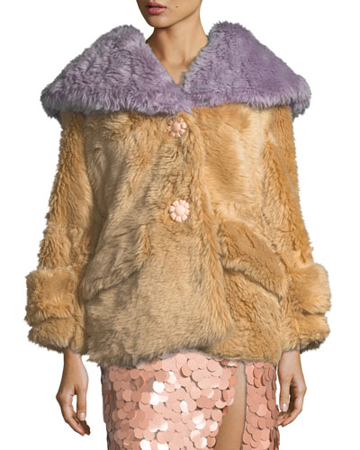 Two-Tone Faux-Fur Coat