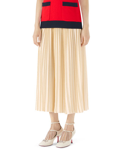 Wool pliss skirt with lurex