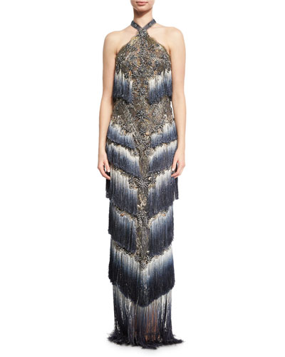 Beaded Ombre Halter Gown, Slate