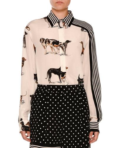 Stripe-Trim Dog-Print Silk Blouse, White