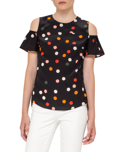 Polka Dot Cold-Shoulder Top, Black