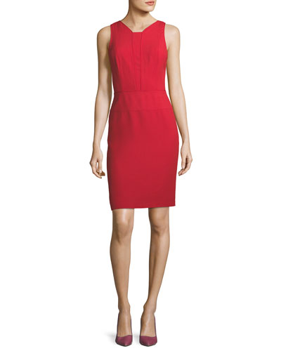 Sleeveless Seamed Cocktail Sheath Dress