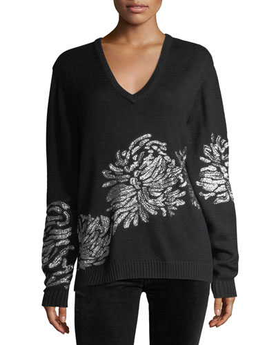 Metallic-Embroidered Knit Sweater