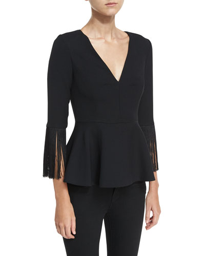 Fringed V-Neck Peplum Top