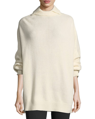 Knit Cashmere Point-Collar Sweater