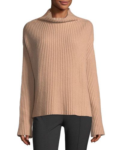 Cashmere Ribbed Mock-Neck Oversized Sweater