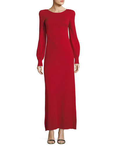 Strong-Shoulder Long Cashmere Dress