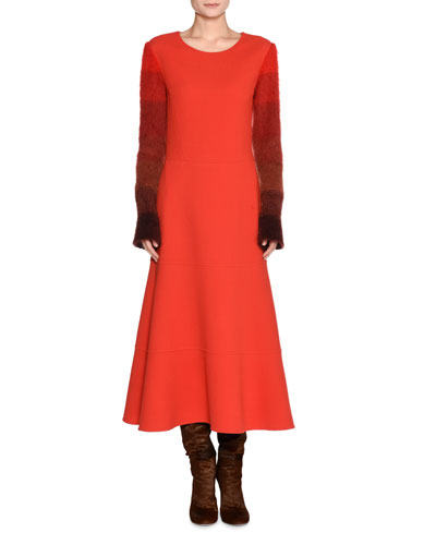 Colorblock-Sleeve Wool Dress