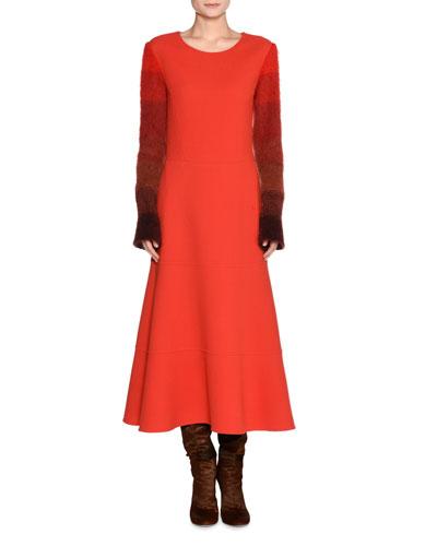 Colorblock-Sleeve Wool Dress