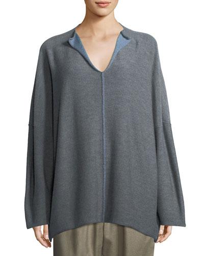 Split-Neck Hand-Loomed Merino Sweater