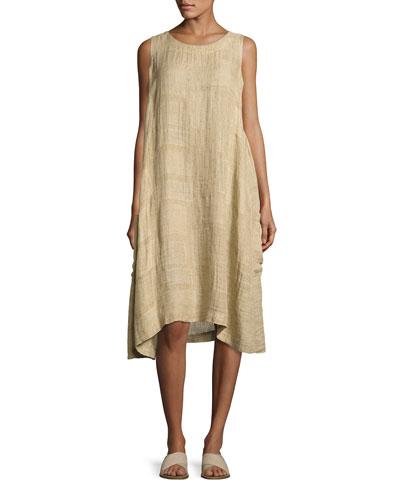 Sleeveless A-Line Linen Dress