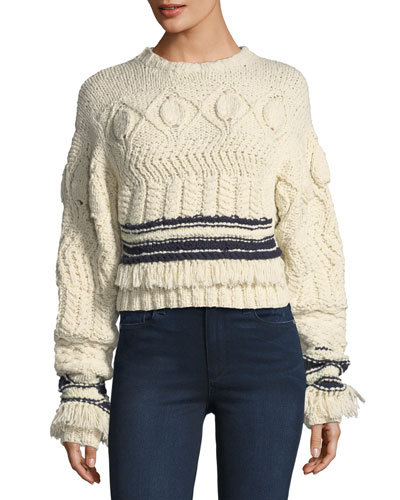 Fringed Cable-Knit Crewneck Sweater