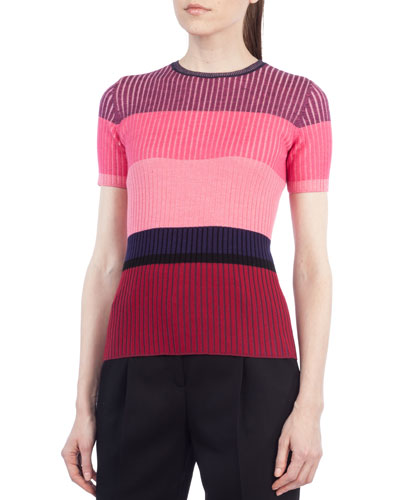Colorblock Ribbed Short-Sleeve Sweater