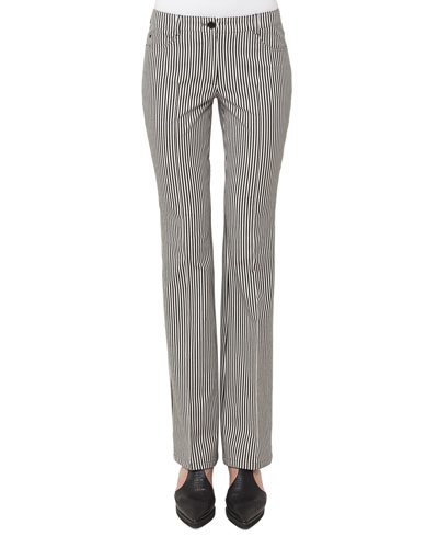 Faye Boot-Cut Striped Denim Pants