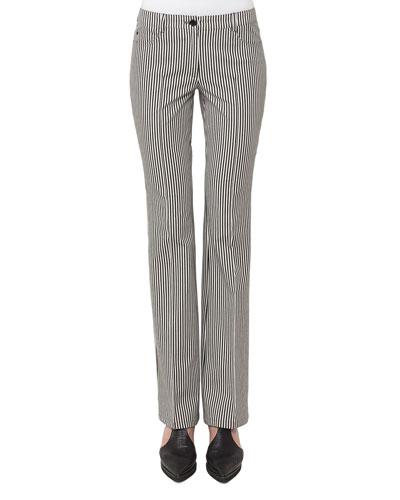 Faye Boot-Cut Striped Denim Pants