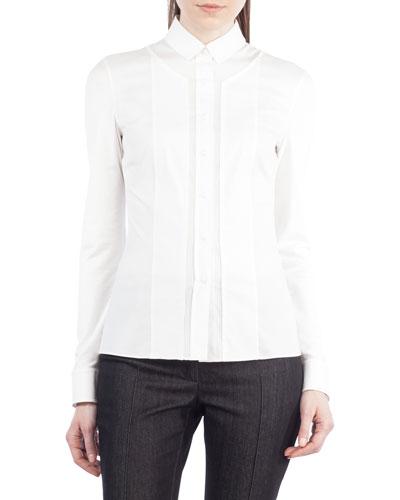 Cotton-Jersey Button-Front Blouse