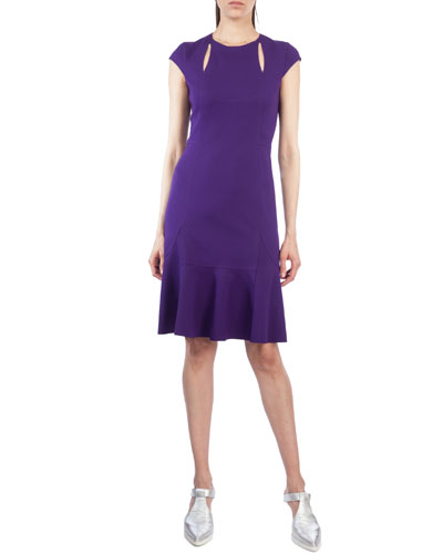 Cutout Cap-Sleeve Jersey Dress
