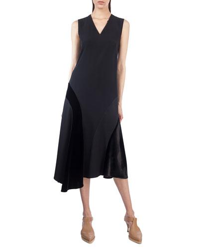 Sleeveless Velvet-Trim Midi Dress
