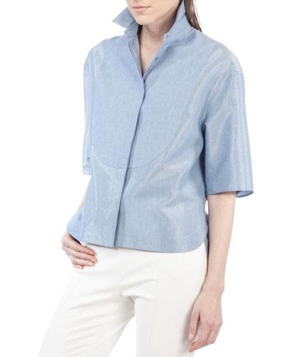 Half-Sleeve Stand-Collar Blouse