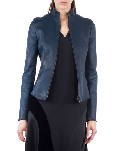 Stand-Collar Leather Jacket