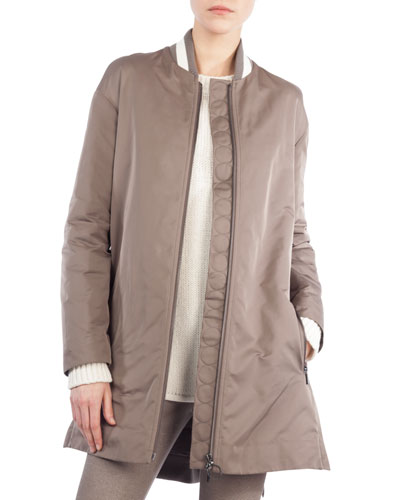 Zip-Front Techno Bomber Jacket
