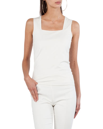 Square-Neck Jersey Tank Top