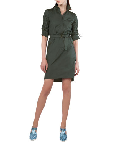 Stand-Collar Belted Cotton Shirtdress