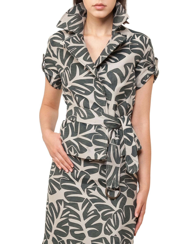 Tropical-Print Safari Jacket