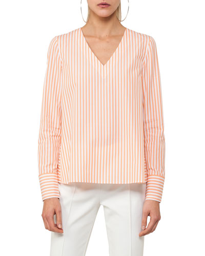 Striped V-Neck Cotton Top