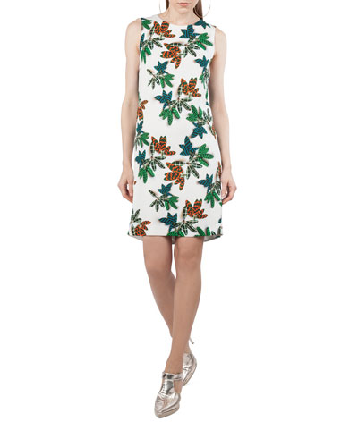 Sleeveless Tropical Leaf Shift Dress