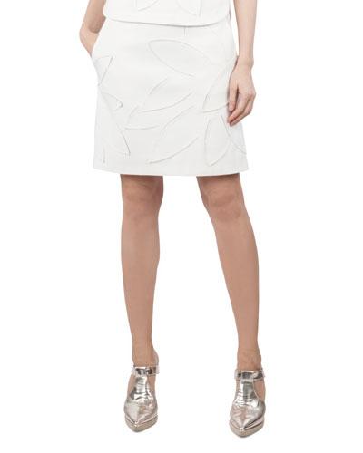 Tropical-Floral 3-D Mesh A-Line Jersey Skirt