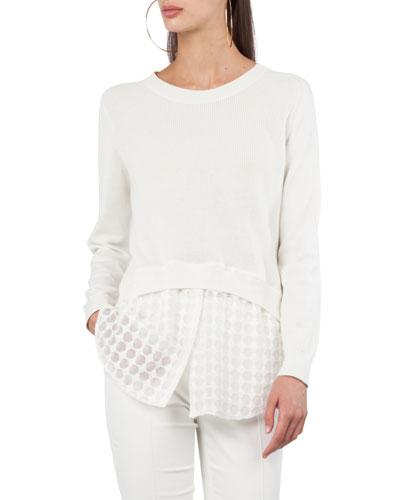 Knit Sweater w/Punto Lace Hem