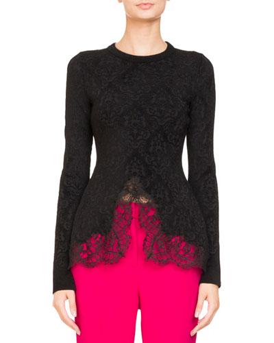 Crewneck Damask Jacquard Sweater