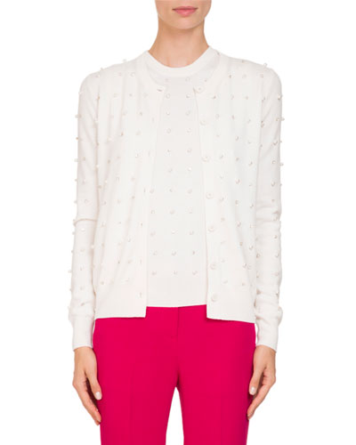 Button-Front Embellished Wool-Cashmere Cardigan
