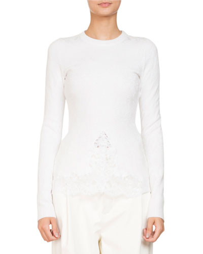 Long-Sleeve Knit Lace Top