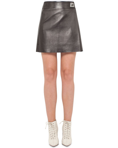 Napa Leather A-Line Wrap Miniskirt, Black