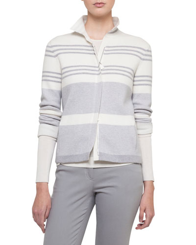 Mock-Neck Zip-Front Reversible Cashmere Knit Jacket