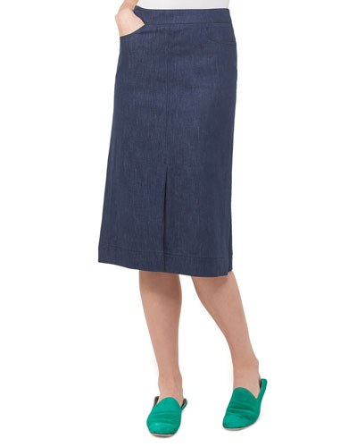 Slim Stretch-Denim Skirt