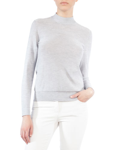 Mock-Neck Cashmere-Blend Sweater