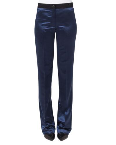 Wide-Leg Elastic-Waist Wool Satin Pants