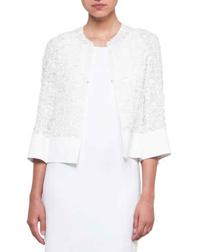 Round-Neck Hook-Front Circle-Embroidery Crepe Jacket