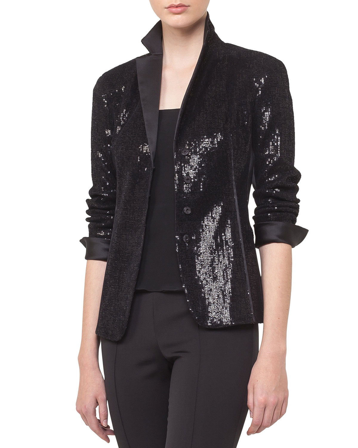 Akris Jackets SEQUIN SATIN LAPEL SNAP-FRONT COCKTAIL JACKET