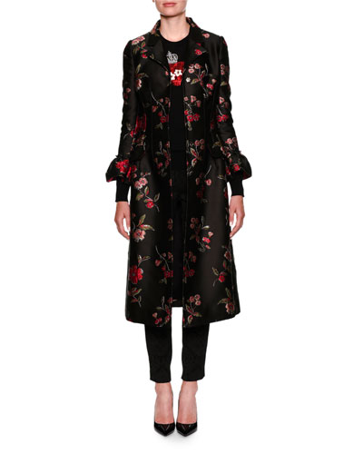 Rose Jacquard Jewel-Button Coat