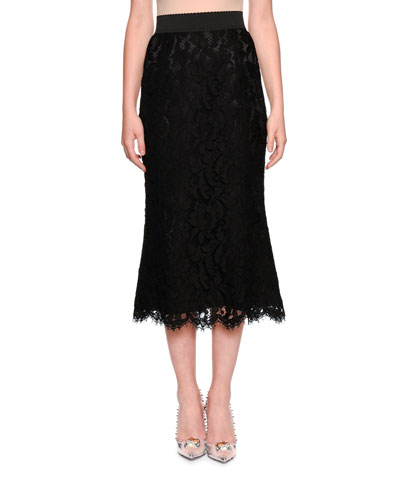 Fluted Lace Midi Skirt