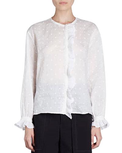 Namos Long-Sleeve Embroidered Gauze Top