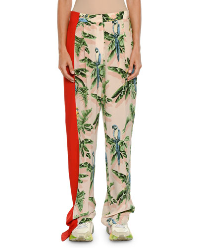 96fe825bffbda1 Birds of Paradise Print Wide-Leg Lounge Pants w  Solid Stripe