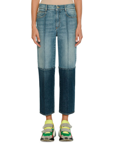 Straight-Leg Cropped Two-Tone Denim Jeans