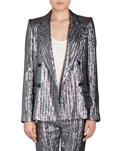 Denel Double-Breasted Lamé Cocktail Blazer