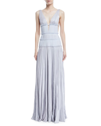 Gathered V-Neck Pleated Gown