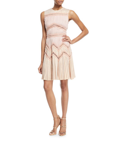 Pleated Dress w/ Symmetrical Lace Cutouts